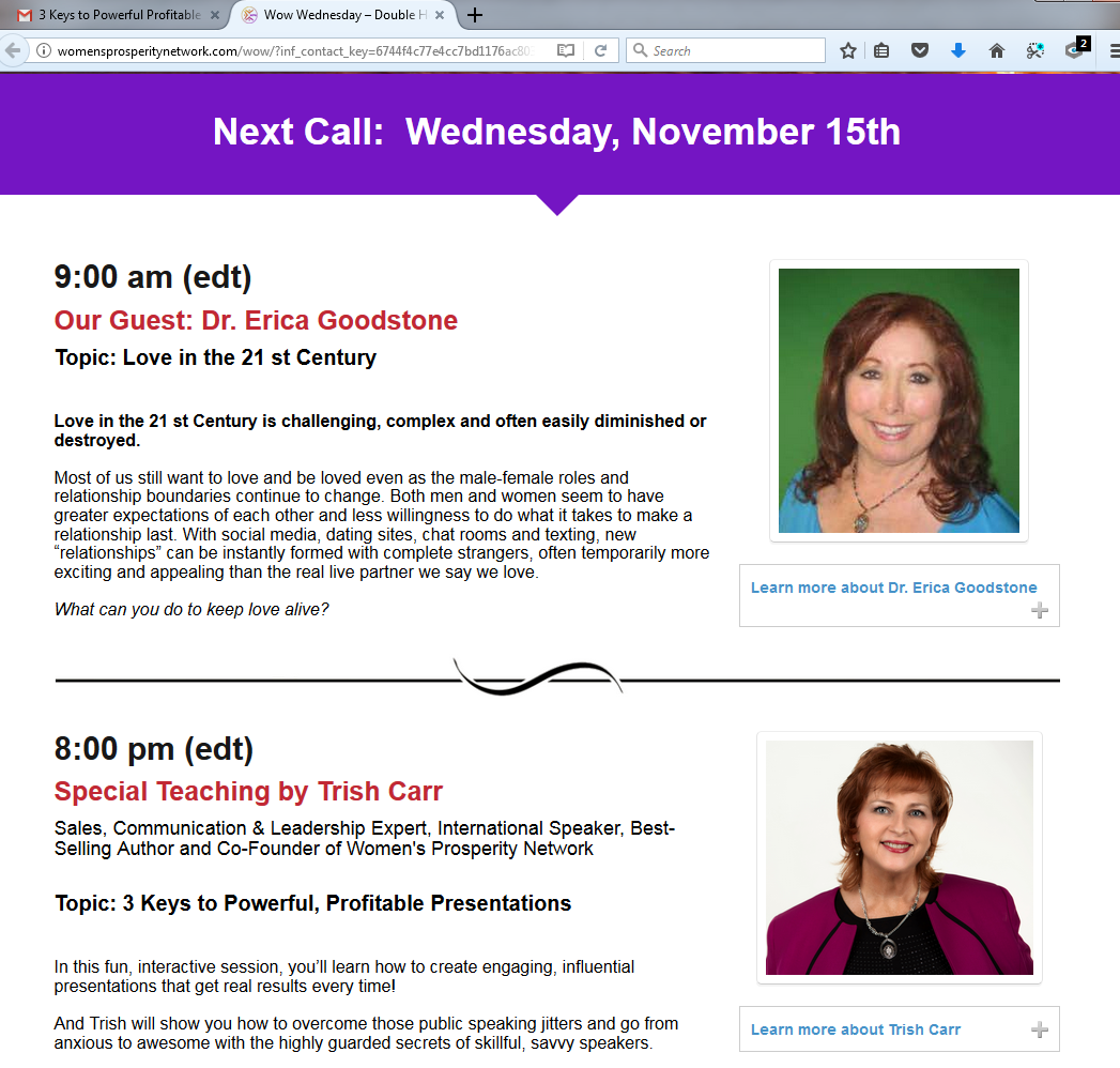 WOW Wednesday, Dr. Erica is interviewed by Trish Carr